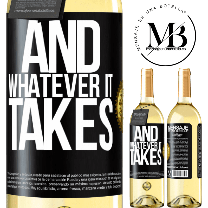24,95 € Free Shipping   White Wine WHITE Edition And whatever it takes Black Label. Customizable label Young wine Harvest 2020 Verdejo