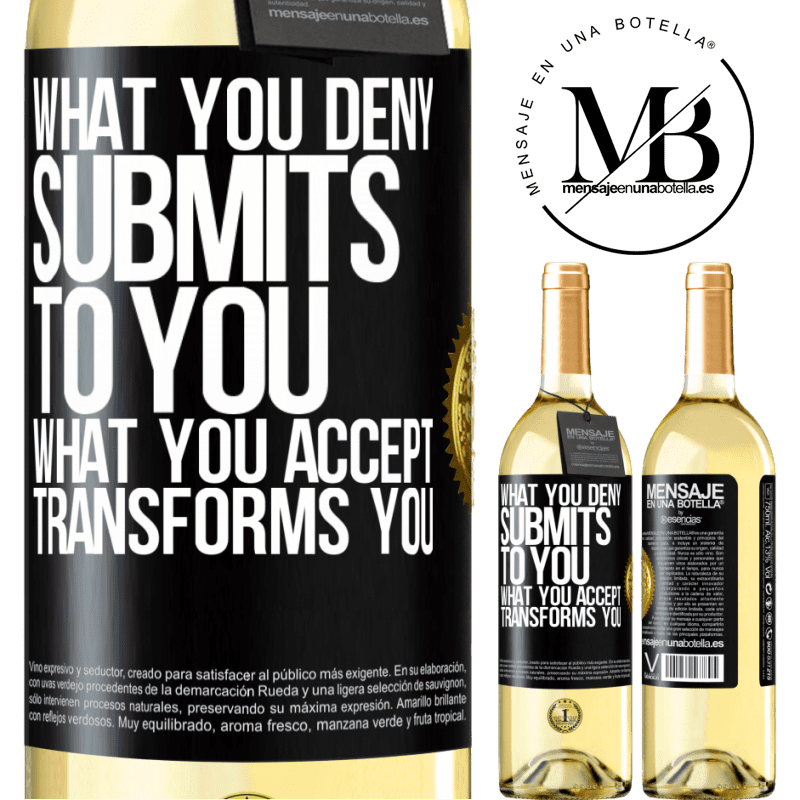 24,95 € Free Shipping | White Wine WHITE Edition What you deny submits to you. What you accept transforms you Black Label. Customizable label Young wine Harvest 2020 Verdejo