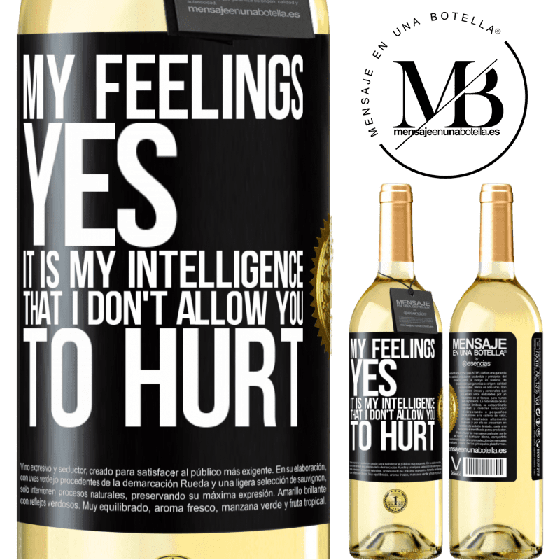 24,95 € Free Shipping   White Wine WHITE Edition My feelings, yes. It is my intelligence that I don't allow you to hurt Black Label. Customizable label Young wine Harvest 2020 Verdejo