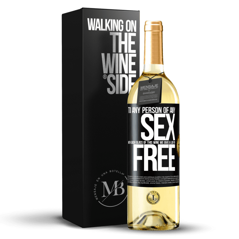 24,95 € Free Shipping | White Wine WHITE Edition To any person of any SEX with each glass of this wine we give a lid for FREE Black Label. Customizable label Young wine Harvest 2020 Verdejo