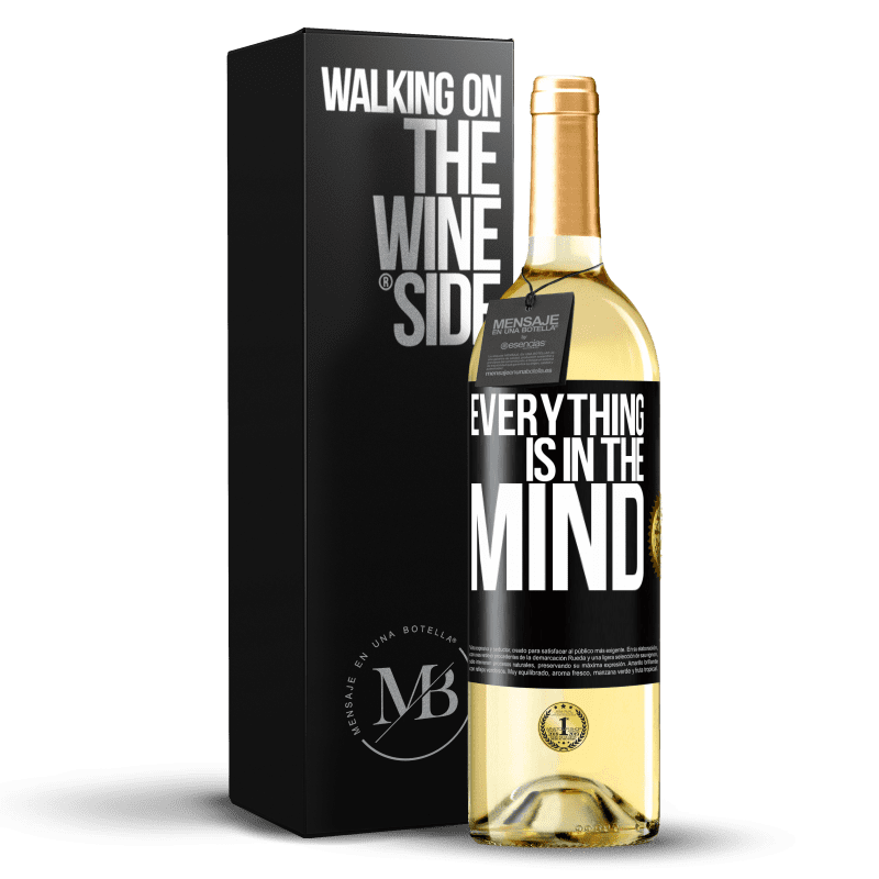 24,95 € Free Shipping | White Wine WHITE Edition Everything is in the mind Black Label. Customizable label Young wine Harvest 2020 Verdejo