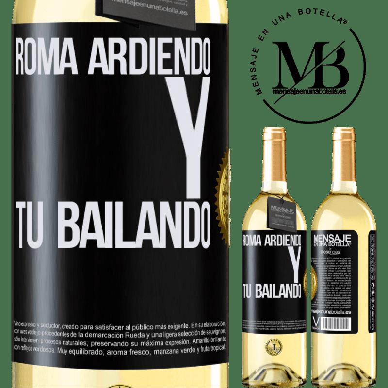24,95 € Envoi gratuit   Vin blanc Édition WHITE Rome brûle et tu danses Étiquette Noire. Étiquette personnalisable Vin jeune Récolte 2020 Verdejo