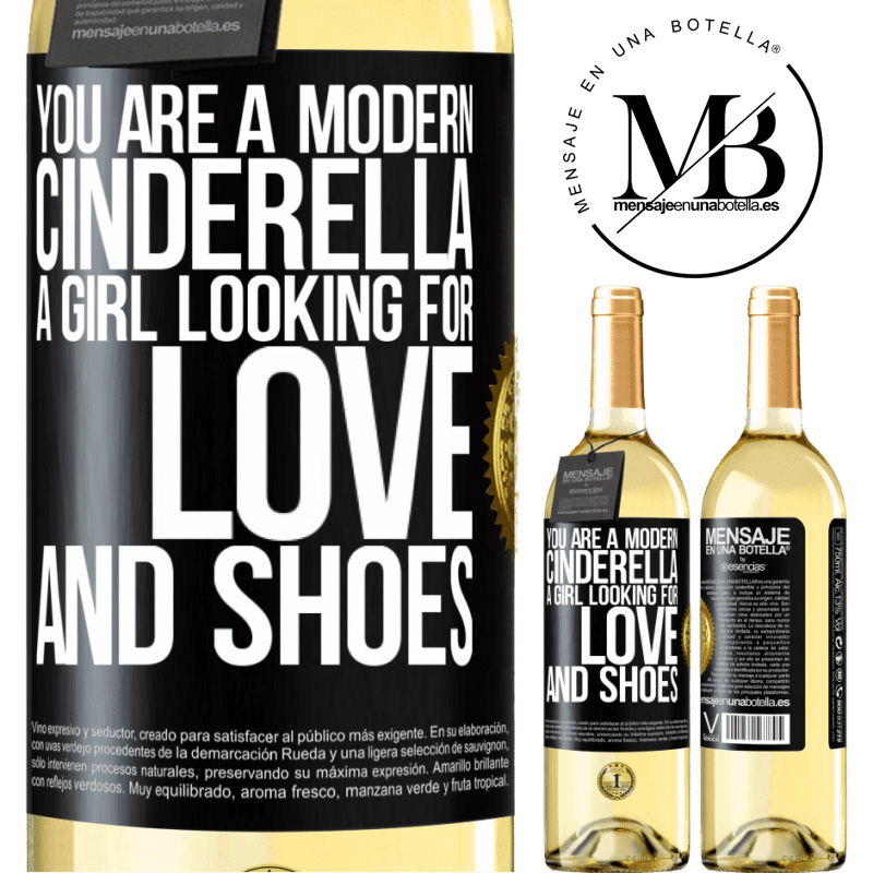 24,95 € Free Shipping   White Wine WHITE Edition You are a modern cinderella, a girl looking for love and shoes Black Label. Customizable label Young wine Harvest 2020 Verdejo