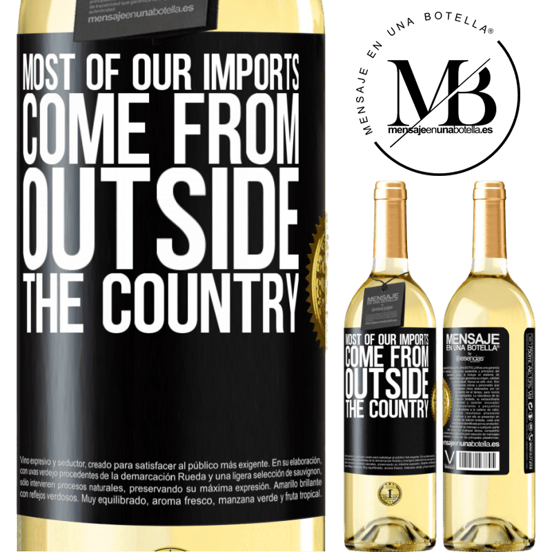 24,95 € Free Shipping | White Wine WHITE Edition Most of our imports come from outside the country Black Label. Customizable label Young wine Harvest 2020 Verdejo