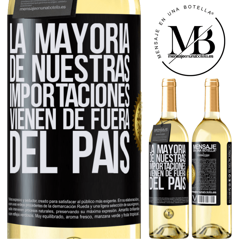 24,95 € Envío gratis | Vino Blanco Edición WHITE La mayoría de nuestras importaciones vienen de fuera del país Etiqueta Negra. Etiqueta personalizable Vino joven Cosecha 2020 Verdejo
