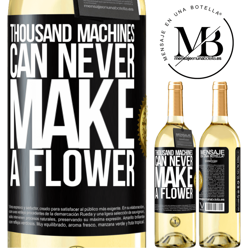 24,95 € Free Shipping   White Wine WHITE Edition Thousand machines can never make a flower Black Label. Customizable label Young wine Harvest 2020 Verdejo