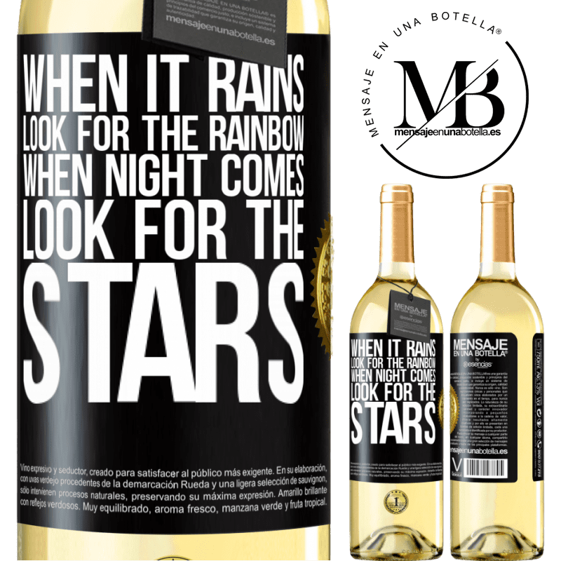 24,95 € Free Shipping | White Wine WHITE Edition When it rains, look for the rainbow, when night comes, look for the stars Black Label. Customizable label Young wine Harvest 2020 Verdejo
