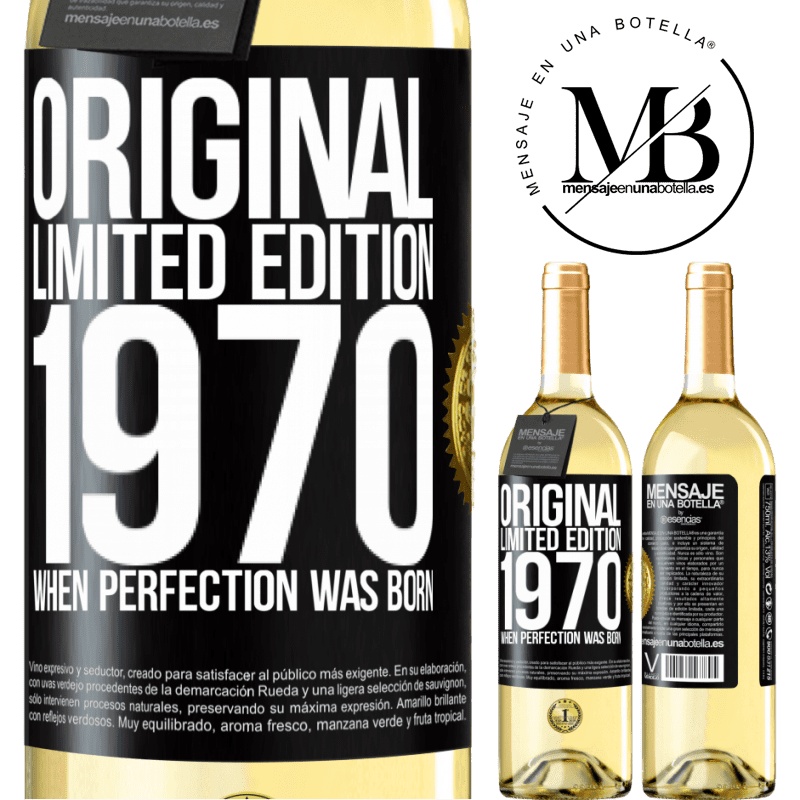 24,95 € Free Shipping   White Wine WHITE Edition Original. Limited edition. 1970. When perfection was born Black Label. Customizable label Young wine Harvest 2020 Verdejo