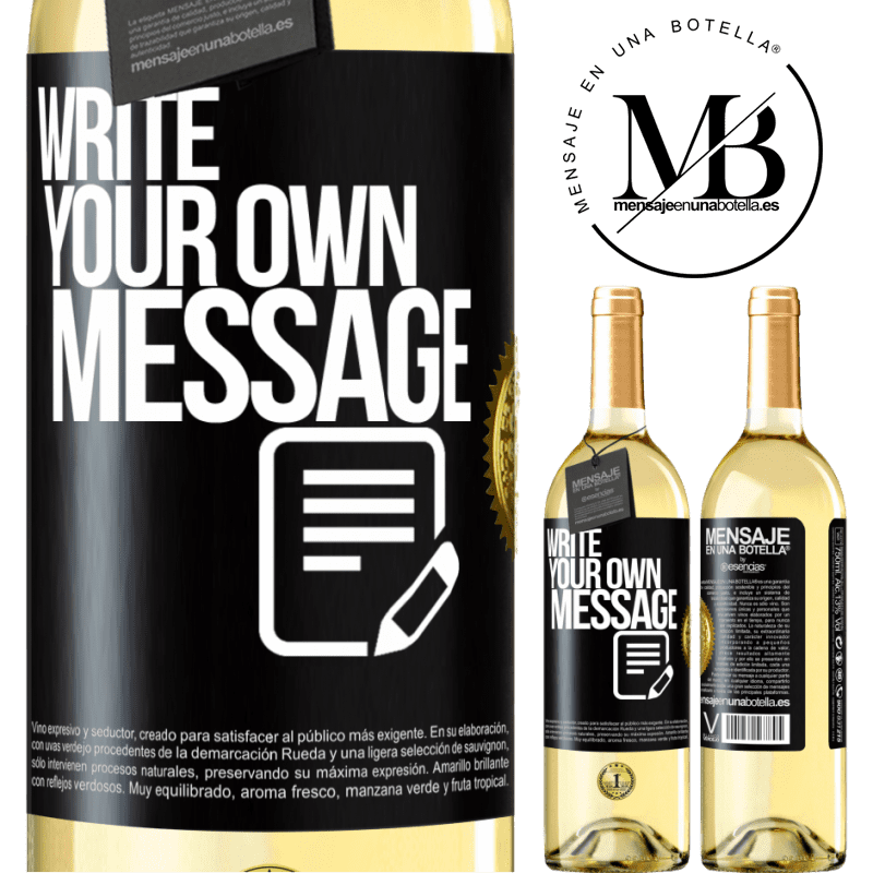24,95 € Free Shipping   White Wine WHITE Edition Write your own message Black Label. Customizable label Young wine Harvest 2020 Verdejo