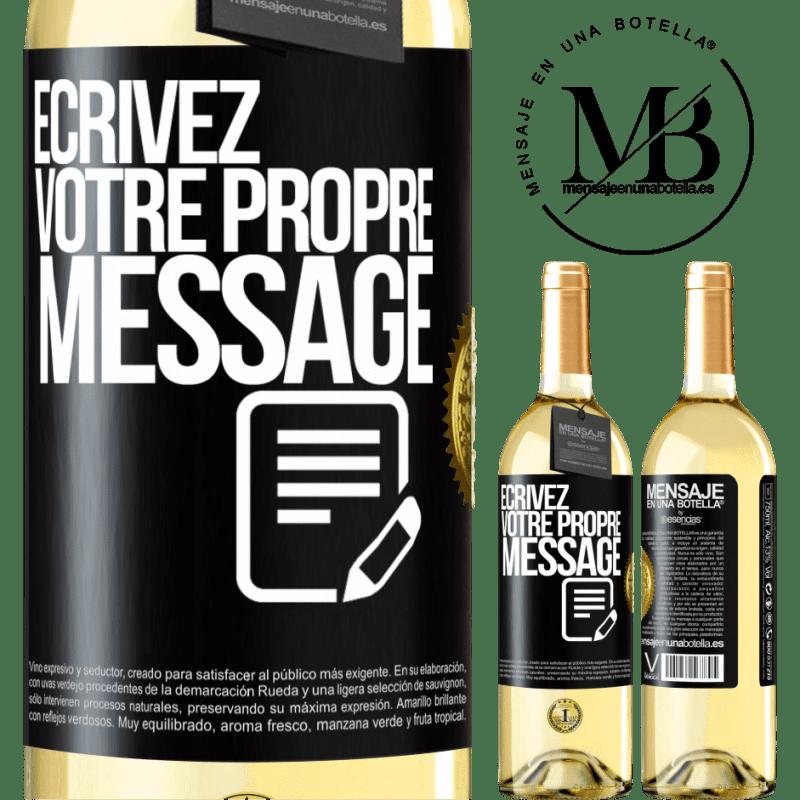 24,95 € Envoi gratuit | Vin blanc Édition WHITE Écrivez votre propre message Étiquette Noire. Étiquette personnalisable Vin jeune Récolte 2020 Verdejo