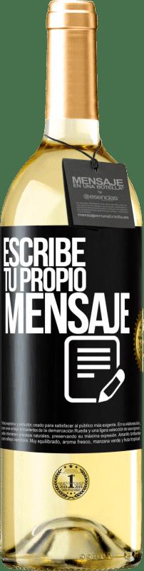 24,95 € Envío gratis | Vino Blanco Edición WHITE Escribe tu propio mensaje Etiqueta Negra. Etiqueta personalizable Vino joven Cosecha 2020 Verdejo