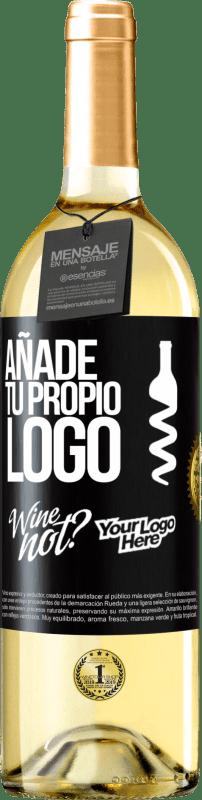 24,95 € Envío gratis | Vino Blanco Edición WHITE Añade tu propio logo Etiqueta Negra. Etiqueta personalizable Vino joven Cosecha 2020 Verdejo
