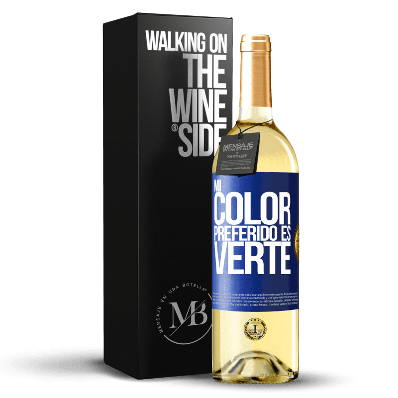 24,95 € Free Shipping   White Wine WHITE Edition Mi color preferido es: verte Blue Label. Customizable label Young wine Harvest 2020 Verdejo