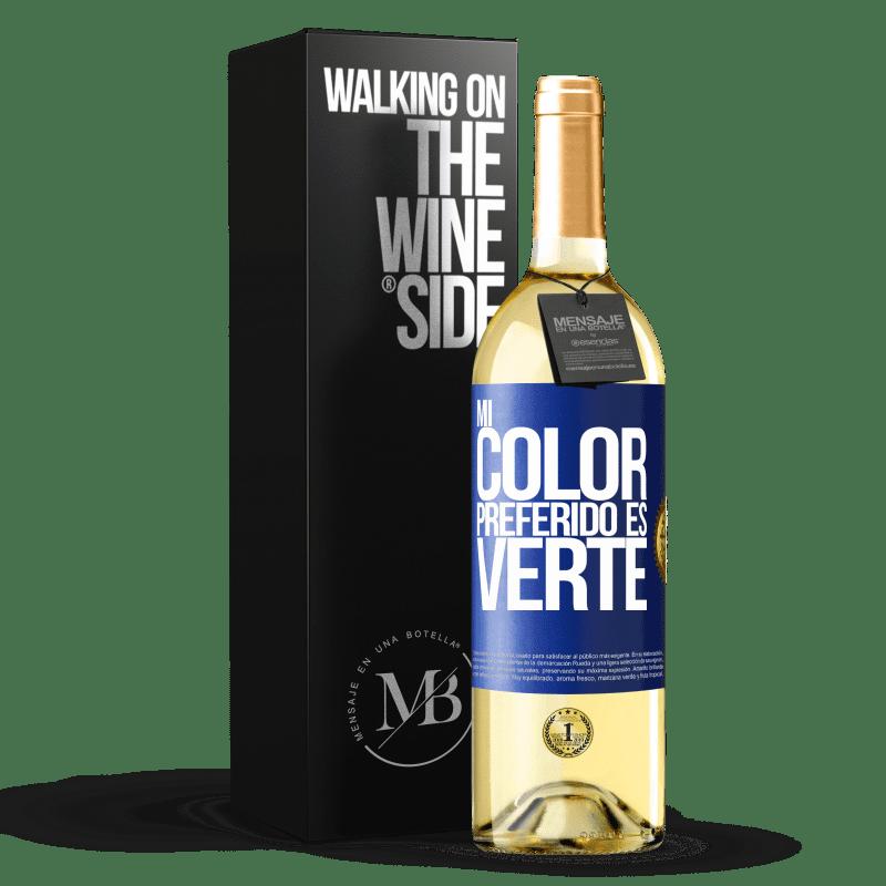 24,95 € Envoi gratuit | Vin blanc Édition WHITE Mi color preferido es: verte Étiquette Bleue. Étiquette personnalisable Vin jeune Récolte 2020 Verdejo