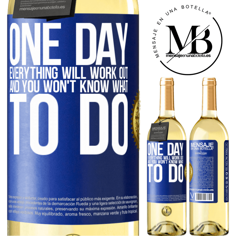 24,95 € Free Shipping   White Wine WHITE Edition One day everything will work out and you won't know what to do Blue Label. Customizable label Young wine Harvest 2020 Verdejo