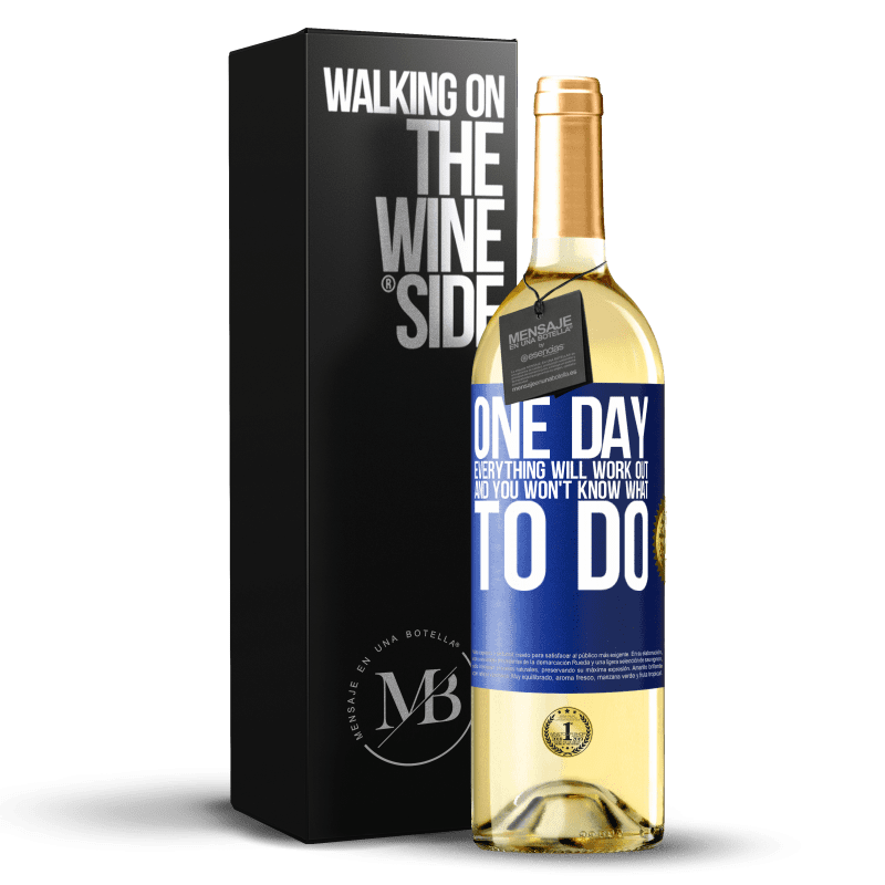 24,95 € Free Shipping | White Wine WHITE Edition One day everything will work out and you won't know what to do Blue Label. Customizable label Young wine Harvest 2020 Verdejo