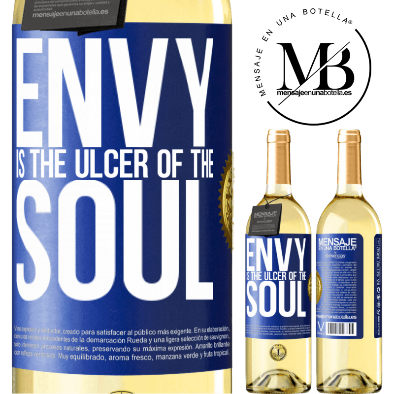 24,95 € Free Shipping | White Wine WHITE Edition Envy is the ulcer of the soul Blue Label. Customizable label Young wine Harvest 2020 Verdejo