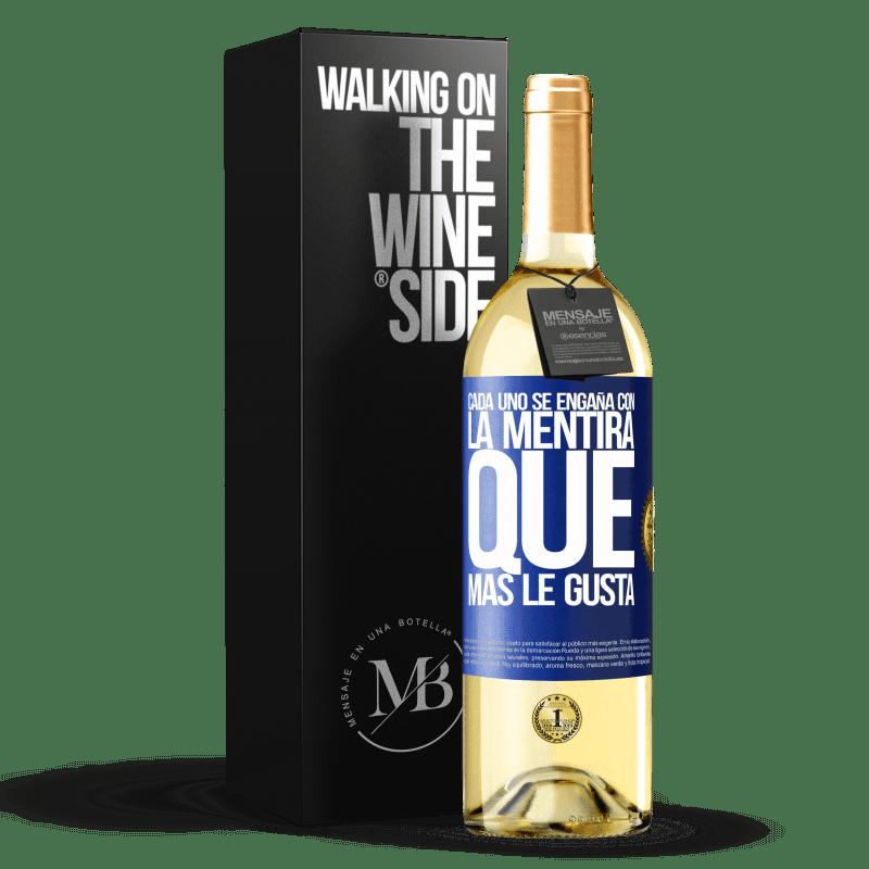 24,95 € Envoi gratuit | Vin blanc Édition WHITE Tout le monde est dupe du mensonge qu'il préfère Étiquette Bleue. Étiquette personnalisable Vin jeune Récolte 2020 Verdejo