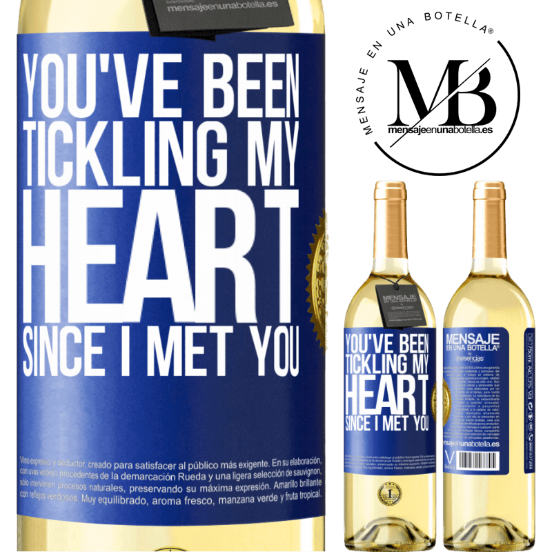 24,95 € Free Shipping | White Wine WHITE Edition You've been tickling my heart since I met you Blue Label. Customizable label Young wine Harvest 2020 Verdejo
