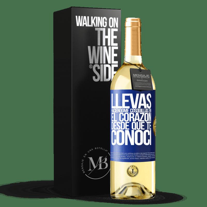 24,95 € Envoi gratuit   Vin blanc Édition WHITE Tu chatouilles mon cœur depuis que je t'ai rencontré Étiquette Bleue. Étiquette personnalisable Vin jeune Récolte 2020 Verdejo
