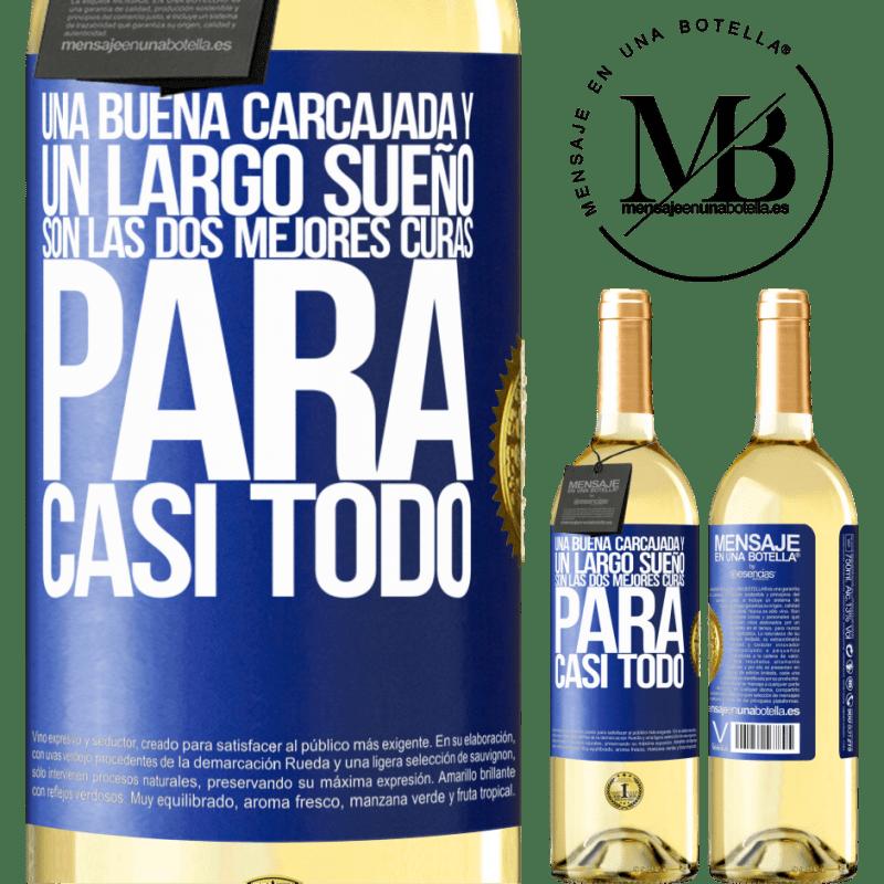 24,95 € Envío gratis | Vino Blanco Edición WHITE Una buena carcajada y un largo sueño son las dos mejores curas para casi todo Etiqueta Azul. Etiqueta personalizable Vino joven Cosecha 2020 Verdejo