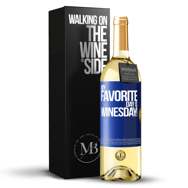 24,95 € Free Shipping | White Wine WHITE Edition My favorite day is winesday! Blue Label. Customizable label Young wine Harvest 2020 Verdejo