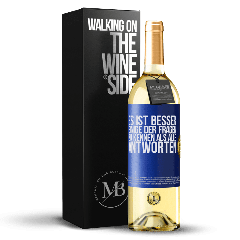 24,95 € Kostenloser Versand   Weißwein WHITE Ausgabe Es ist besser, einige der Fragen zu kennen als alle Antworten Blaue Markierung. Anpassbares Etikett Junger Wein Ernte 2020 Verdejo