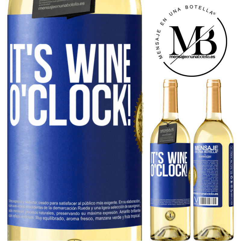 24,95 € Free Shipping | White Wine WHITE Edition It's wine o'clock! Blue Label. Customizable label Young wine Harvest 2020 Verdejo