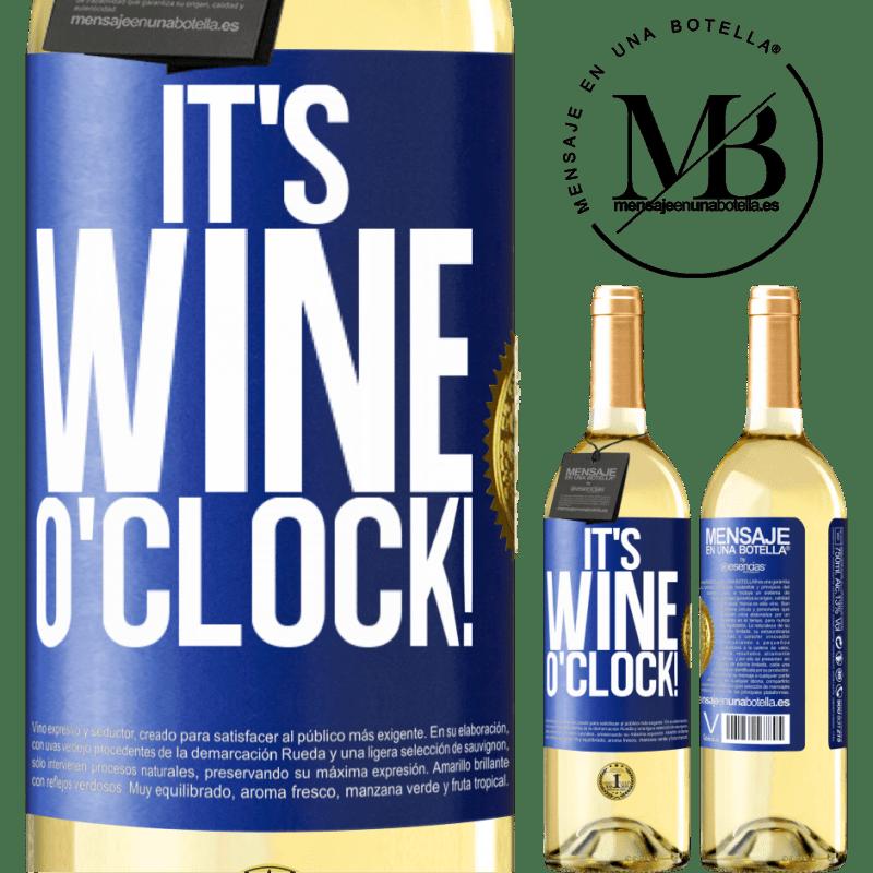 24,95 € Envío gratis | Vino Blanco Edición WHITE It's wine o'clock! Etiqueta Azul. Etiqueta personalizable Vino joven Cosecha 2020 Verdejo