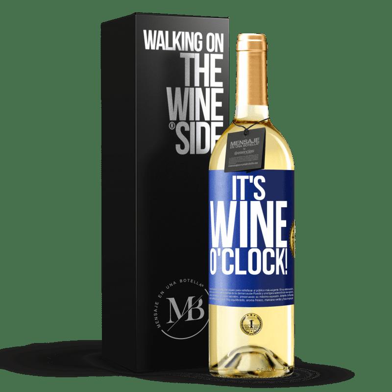 24,95 € Envoi gratuit | Vin blanc Édition WHITE It's wine o'clock! Étiquette Bleue. Étiquette personnalisable Vin jeune Récolte 2020 Verdejo