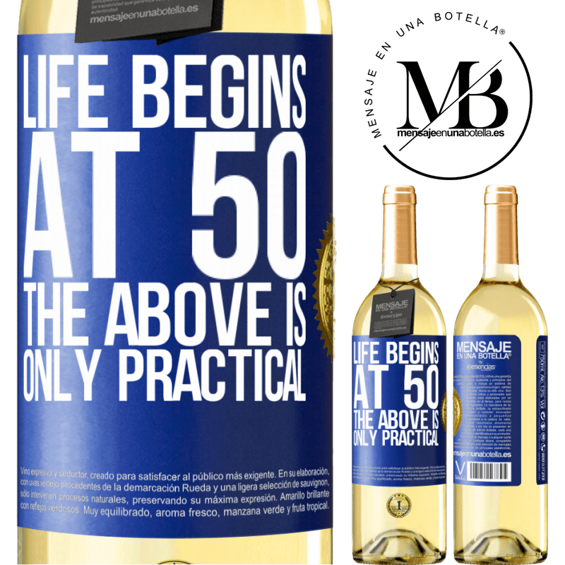 24,95 € Free Shipping   White Wine WHITE Edition Life begins at 50, the above is only practical Blue Label. Customizable label Young wine Harvest 2020 Verdejo