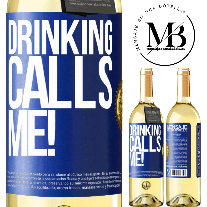 24,95 € Free Shipping | White Wine WHITE Edition drinking calls me! Blue Label. Customizable label Young wine Harvest 2020 Verdejo