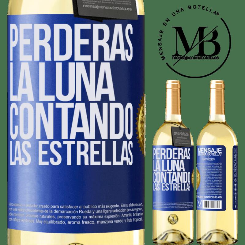 24,95 € Envío gratis | Vino Blanco Edición WHITE Perderás la luna contando las estrellas Etiqueta Azul. Etiqueta personalizable Vino joven Cosecha 2020 Verdejo