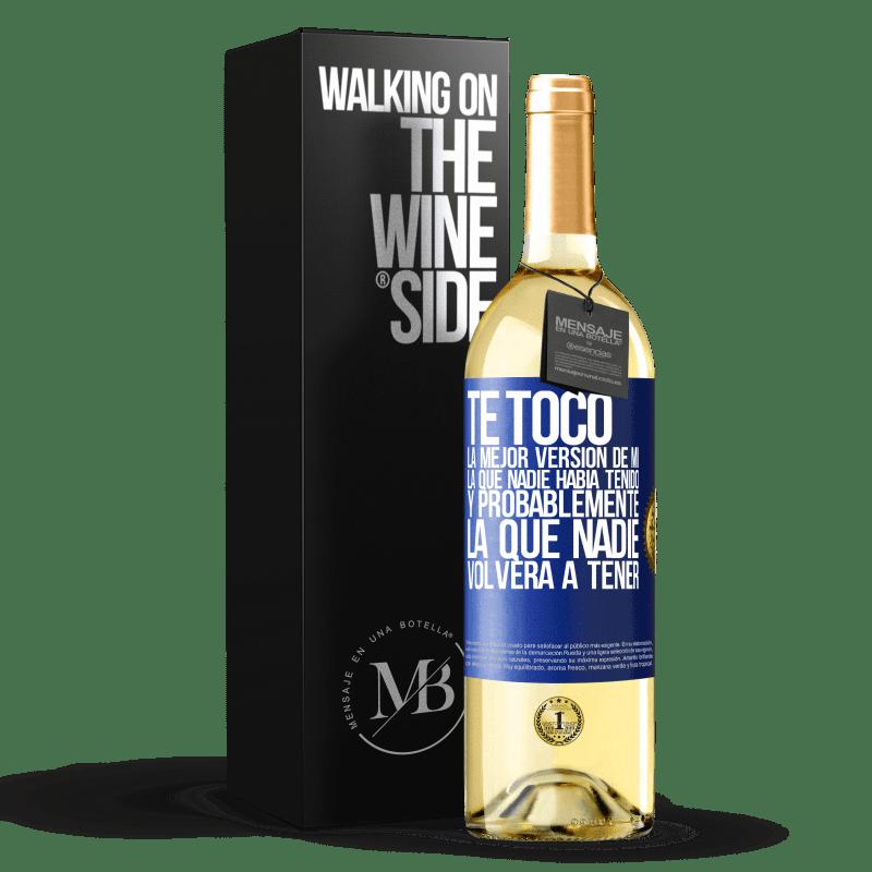 24,95 € Envoi gratuit | Vin blanc Édition WHITE Vous avez la meilleure version de moi, celle que personne n'avait et probablement celle que personne n'aura jamais Étiquette Bleue. Étiquette personnalisable Vin jeune Récolte 2020 Verdejo