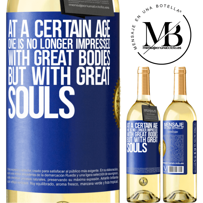 24,95 € Free Shipping   White Wine WHITE Edition At a certain age one is no longer impressed with great bodies, but with great souls Blue Label. Customizable label Young wine Harvest 2020 Verdejo