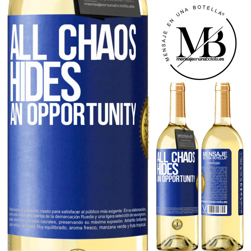 24,95 € Free Shipping   White Wine WHITE Edition All chaos hides an opportunity Blue Label. Customizable label Young wine Harvest 2020 Verdejo
