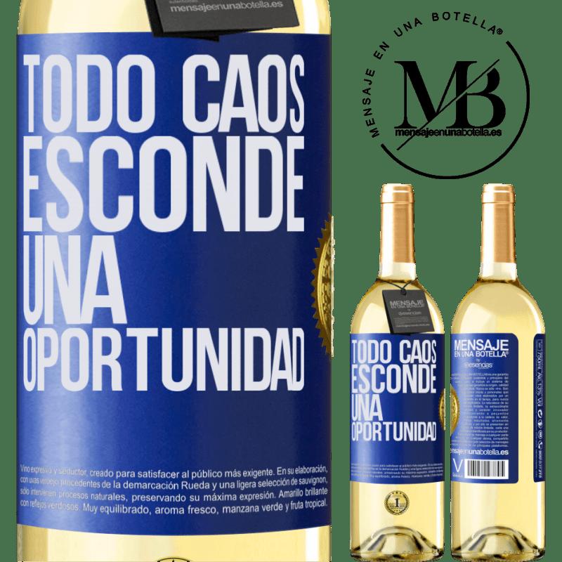 24,95 € Envío gratis | Vino Blanco Edición WHITE Todo caos esconde una oportunidad Etiqueta Azul. Etiqueta personalizable Vino joven Cosecha 2020 Verdejo