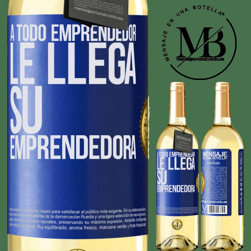 24,95 € Envío gratis | Vino Blanco Edición WHITE A todo emprendedor le llega su emprendedora Etiqueta Azul. Etiqueta personalizable Vino joven Cosecha 2020 Verdejo