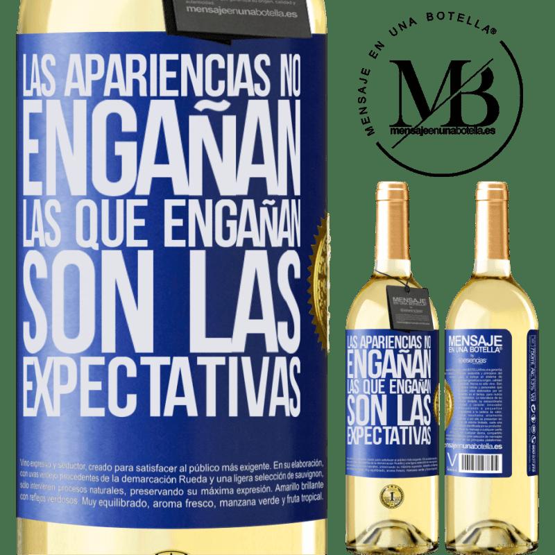 24,95 € Envoi gratuit | Vin blanc Édition WHITE Les apparences ne trompent pas. Ceux qui trichent sont les attentes Étiquette Bleue. Étiquette personnalisable Vin jeune Récolte 2020 Verdejo