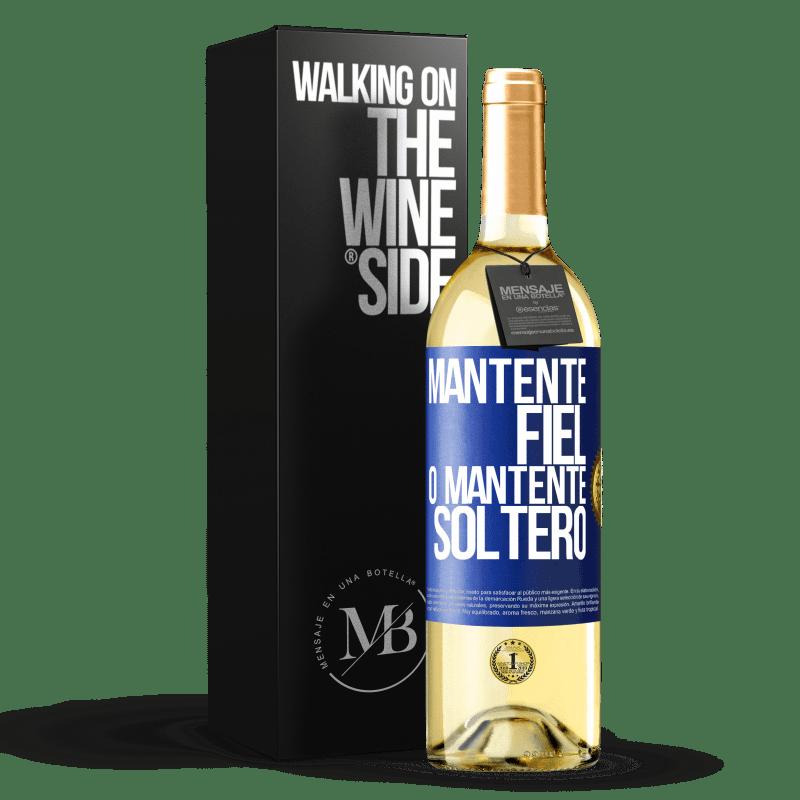 24,95 € Envoi gratuit   Vin blanc Édition WHITE Restez fidèle ou restez célibataire Étiquette Bleue. Étiquette personnalisable Vin jeune Récolte 2020 Verdejo