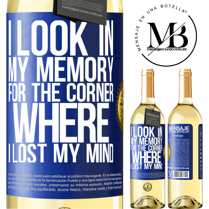 24,95 € Free Shipping   White Wine WHITE Edition I look in my memory for the corner where I lost my mind Blue Label. Customizable label Young wine Harvest 2020 Verdejo
