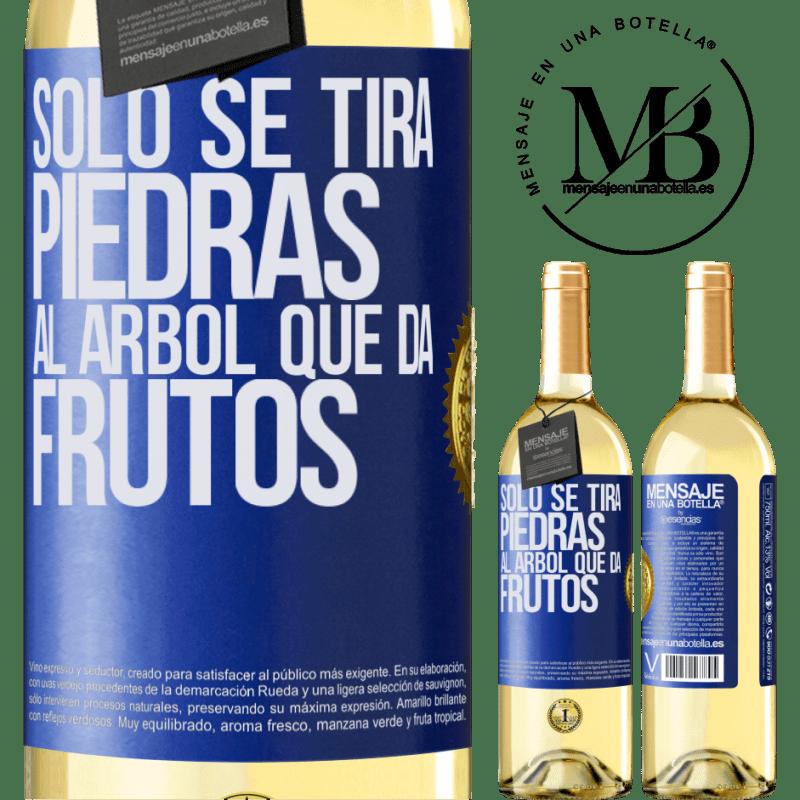 24,95 € Envoi gratuit   Vin blanc Édition WHITE Il suffit de jeter des pierres sur l'arbre qui porte des fruits Étiquette Bleue. Étiquette personnalisable Vin jeune Récolte 2020 Verdejo