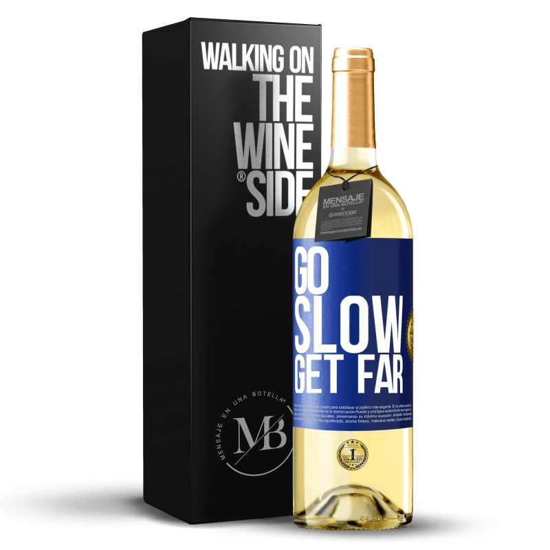 24,95 € Free Shipping | White Wine WHITE Edition Go slow. Get far Blue Label. Customizable label Young wine Harvest 2020 Verdejo