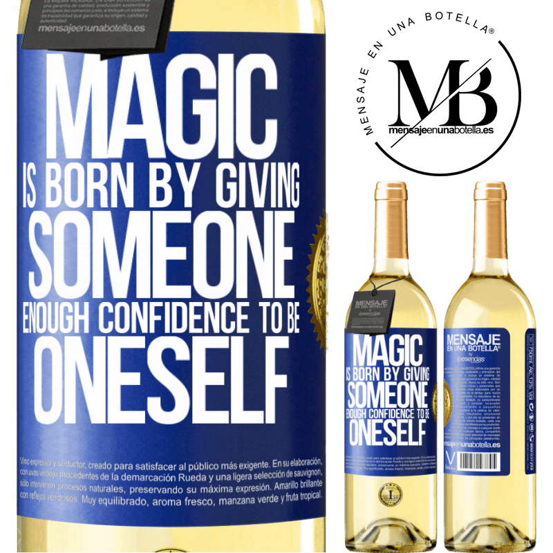 24,95 € Free Shipping | White Wine WHITE Edition Magic is born by giving someone enough confidence to be oneself Blue Label. Customizable label Young wine Harvest 2020 Verdejo