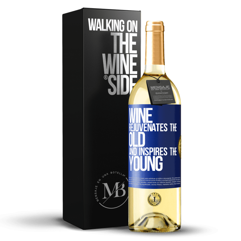 24,95 € Free Shipping | White Wine WHITE Edition Wine rejuvenates the old and inspires the young Blue Label. Customizable label Young wine Harvest 2020 Verdejo