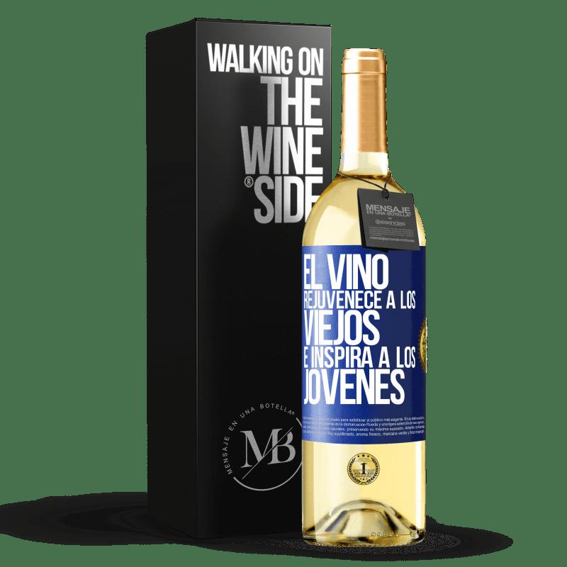 24,95 € Envoi gratuit   Vin blanc Édition WHITE Le vin rajeunit les vieux et inspire les jeunes Étiquette Bleue. Étiquette personnalisable Vin jeune Récolte 2020 Verdejo