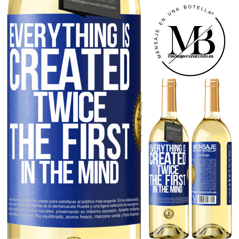 24,95 € Free Shipping | White Wine WHITE Edition Everything is created twice. The first in the mind Blue Label. Customizable label Young wine Harvest 2020 Verdejo