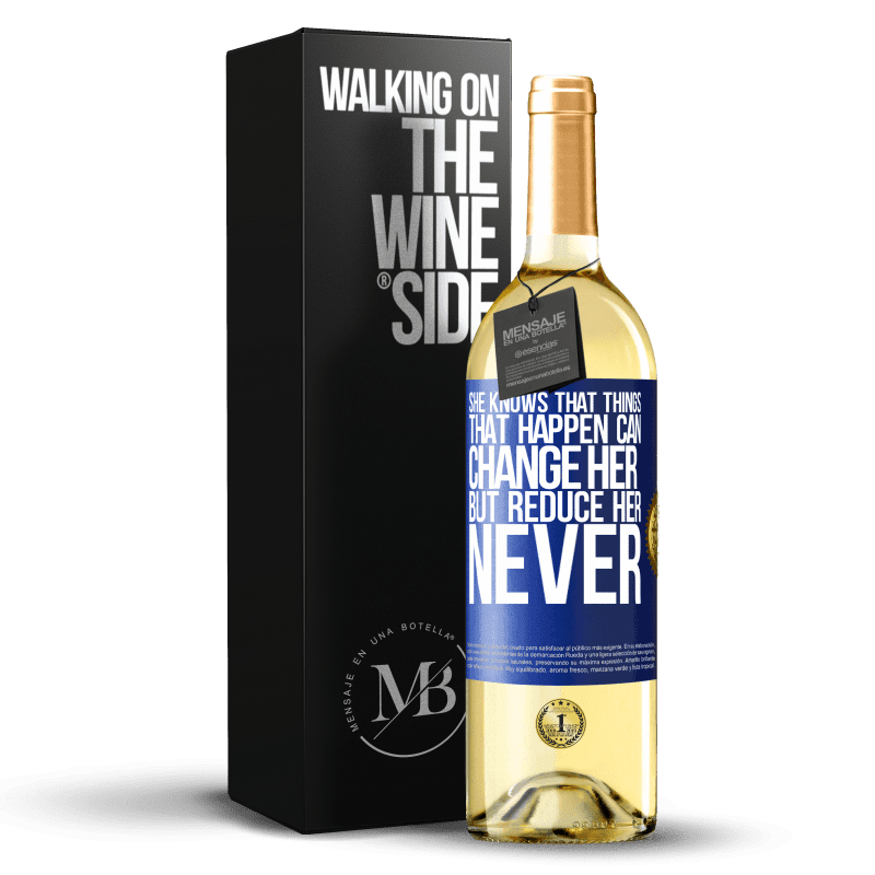 24,95 € Free Shipping | White Wine WHITE Edition She knows that things that happen can change her, but reduce her, never Blue Label. Customizable label Young wine Harvest 2020 Verdejo