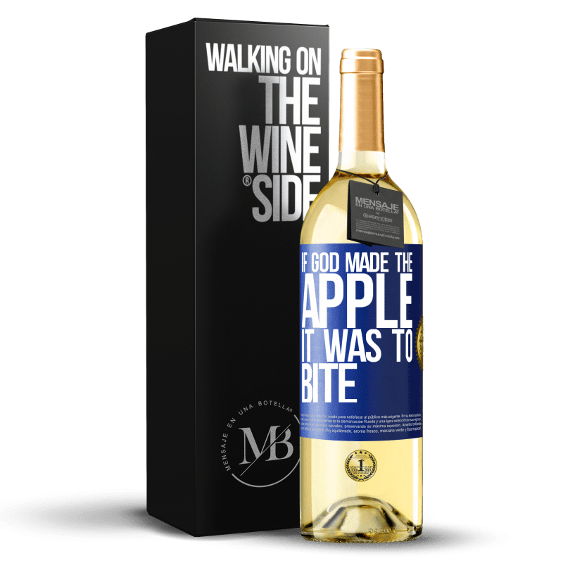 24,95 € Free Shipping | White Wine WHITE Edition If God made the apple it was to bite Blue Label. Customizable label Young wine Harvest 2020 Verdejo