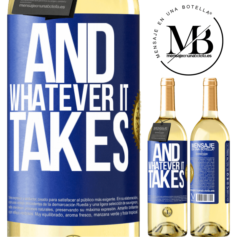 24,95 € Free Shipping   White Wine WHITE Edition And whatever it takes Blue Label. Customizable label Young wine Harvest 2020 Verdejo